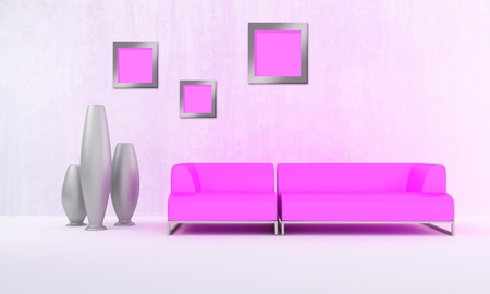 Pink modern sofa in white luminous room Stock Photo - 8733157