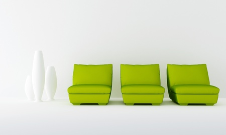 waiting room: Three green seat in white luminous waiting room