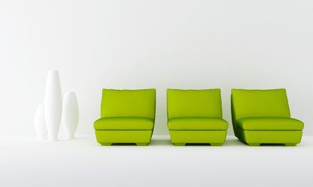 Three green seat in white luminous waiting room