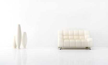 luminous: Modern white sofa in white luminous interior  Stock Photo