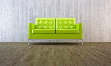 Green modern sofa in minimal room with parquet and concrete wall photo