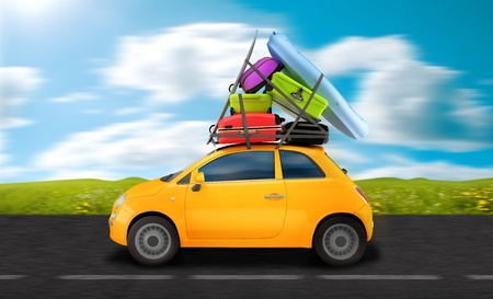 Car weigh down to baggages travel on the road