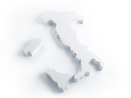 White Italy map in 3d extrusion render Stock Photo