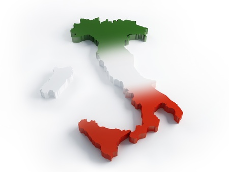 Italy map with three flag's colours in 3d Stock Photo