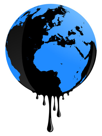 environmental issues: Earth globe rapresents oil pollution problems