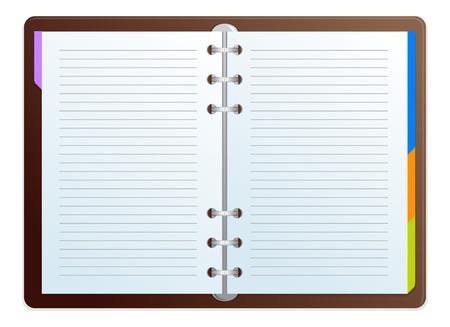 directorio telefonico: Ilustraci�n vectorial abierto programa de obras fecha y nota
