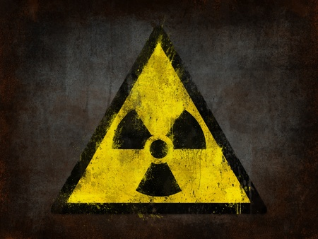 radioactivity: metal rust grunge and ruined with nuclear symbol