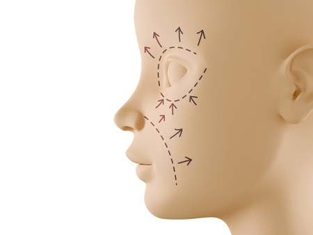 Neutral face profile with aesthetic surgery sign Stock Photo