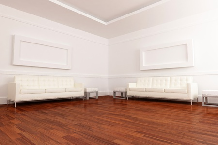 Luminous waiting room with comfortable sofa and parquet pave Stock Photo - 9242738
