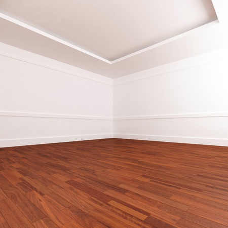 roomy: Empty luminous and roomy interior whit parquet pave Stock Photo