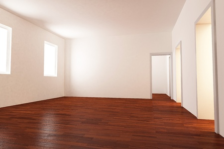 parquet: Empty luminous room with parquet floor computer graphic generated Stock Photo