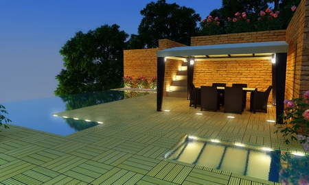 Outdoor luxury villa with infinity pool and gazebo for relax time photo