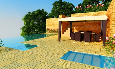 villa: Outdoor luxury villa with infinity pool and gazebo for relax time Stock Photo
