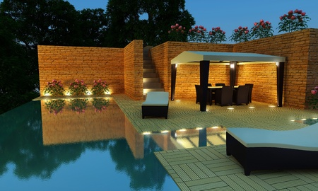 iluminado: Villa de lujo al aire libre con piscina y gazebo para relajarse tiempo