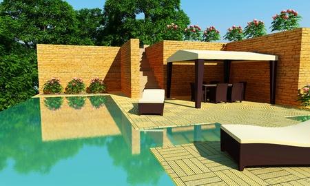 architectonic: Buiten luxevilla met zwembad met overstroomrand en gazebo voor ontspannen tijd Stockfoto