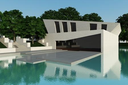 Buitenkant modern style villa omringd aan water