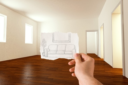 furnished: Sketch idea for furnishing the living room Stock Photo