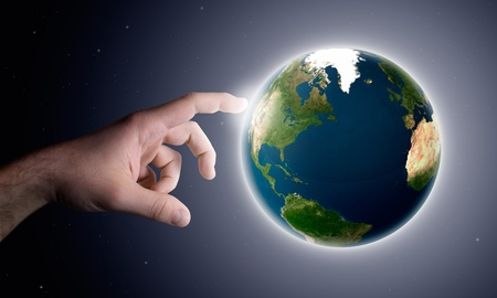 creates: the God hand creates the planet earth