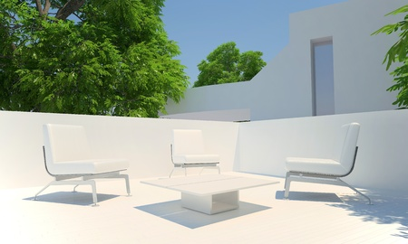 3D Relax corner on home terrace in summer time
