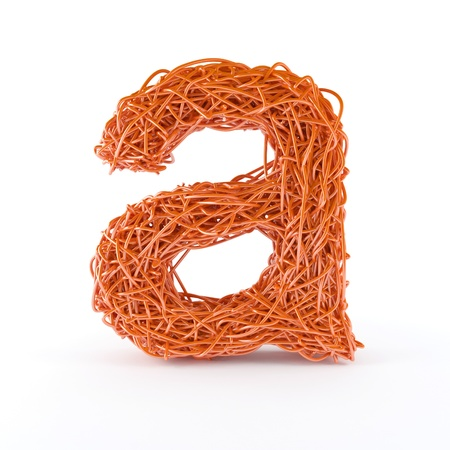 alphabetic: 3D Alphabetic letter a with intertwined wire effect