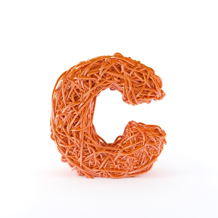 alphabetic: 3D Alphabetic letter C with interwined wire effect