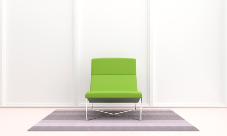 3D Modern style green seat in luminous room Stock Photo - 9922058