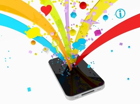 Smartphone and multimedia service, music, video, communication Archivio Fotografico