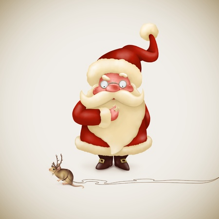 Perplexed Santa Claus and little strange reindeer photo