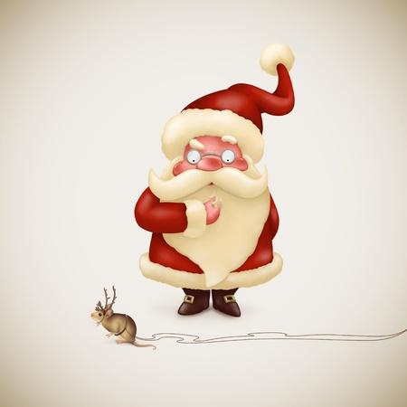 Perplexed Santa Claus and little strange reindeer
