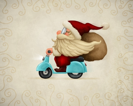 Motorized santa Claus delivery the gifts Stock Photo