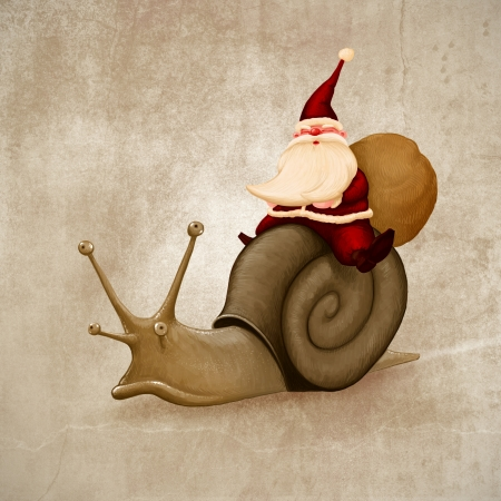 Santa Claus rides a snail for delivery the gifts photo