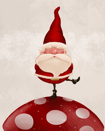 gnome: Little Santa Claus on big red fungus