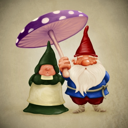 Little spouses gnome under the big fungus Stock Photo