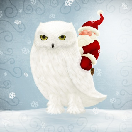 Santa Claus rides a big white owl