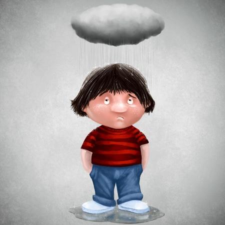Unglückliche Menschen mit seinen persönlichen Wolke