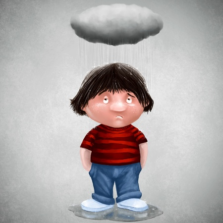 disconsolate: Unlucky man with his personal cloud Stock Photo
