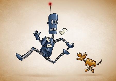 Briefträger Roboter läuft gejagt von einem mechanischen Hund Standard-Bild - 11377008