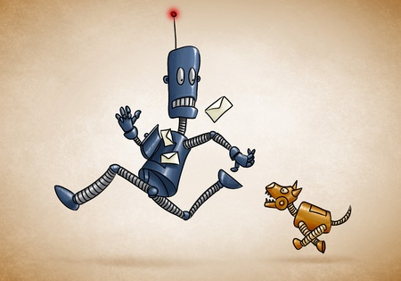 postman robot runs chased by a mechanical dog