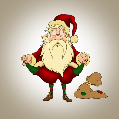 disconsolate: Santa Claus with empty pockets in crisis period