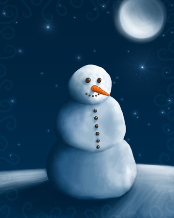 Snow man under the moon and stars photo