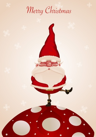 gnome: Santa Claus on fungus Illustration