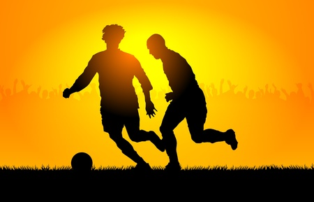 Backlighting shapes of men who play to soccer Stock Vector - 12064789