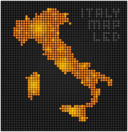Italian map made with led luminous squares Vector