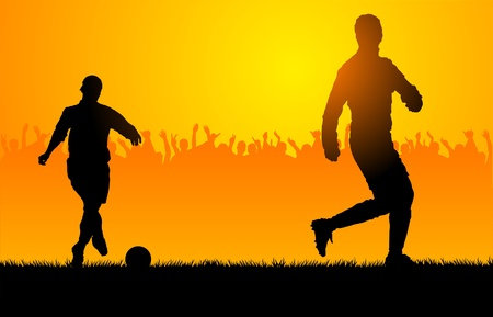 backlighting: Backlighting shapes of men who play to soccer