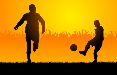 assist: Backlighting shapes of men who play to soccer