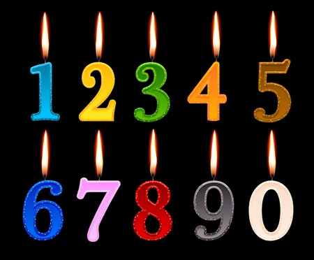 candles shape of numbers to decorate the birthday cake Illustration
