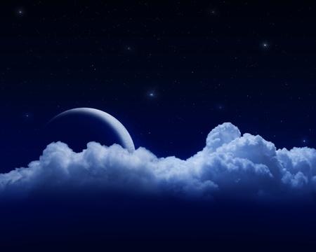 moon behind clouds in dark starry sky Archivio Fotografico