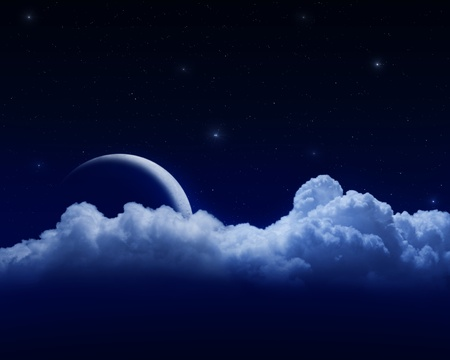 moon behind clouds in dark starry sky Stock Photo