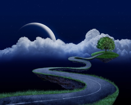 Suspended in the night sky road that leads to the tree