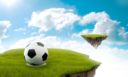 suspended: Soccer game played on suspended field on the sky Stock Photo
